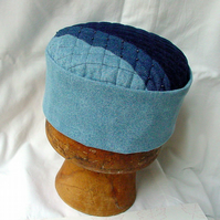 Patchwork Smoking Cap, Grunge Blue Denim Hippie Pillbox Hat