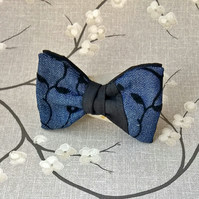 Denim Clip On Bow Tie, Men's Pre Tied Necktie 1930's Style