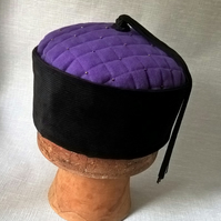 Purple Smoking Cap, Mens Victorian Style Black Tassel Hat