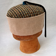 Mens Tweed Smoking Cap, Victorian Style Tassel Hat