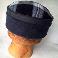 Winter Fleece Cap, Men's Lumberjack Check Kufi Hat