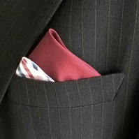 Gingham Pre-Folded Pocket Square, Men's Burgundy Check Suit Accessory