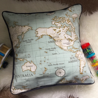 Map Cushion covers, atlas fabric