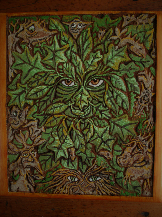 Greenman and woodland folk wall plaque
