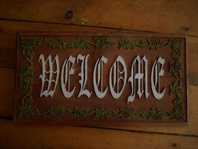 Welcome wall plaque relief carving