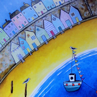 Harbour Beach Huts, Blank Greetings Card
