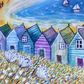 Breezy Day at the Beach, Beach Huts Blank Greetings Card