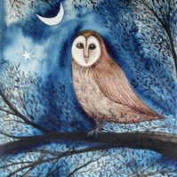 The Sentinel, Original Owl Watercolour Painting