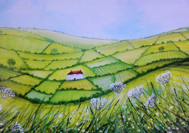 Rolling Hills Landscape, Blank Greetings Card
