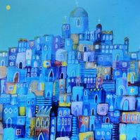 Blue City, Blank Greetings Card