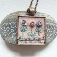 SALE, Handmade Felt and Embroidery Pendant Necklace