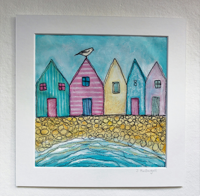 Beach Huts, Textile Art