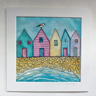 SALE, Beach Huts, Textile Art