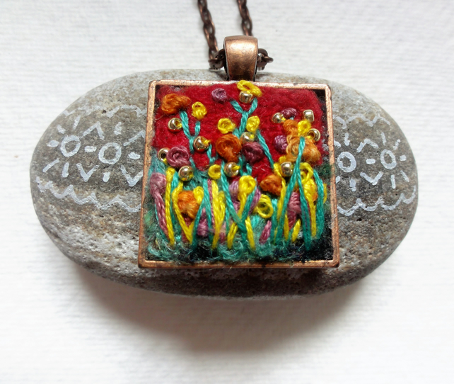 Hand made Felt and Embroidered Pendant