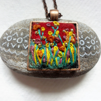 SALE, Hand made Felt and Embroidered Pendant