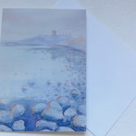 Dunstanburgh Castle Northumberland, Blank greetings card
