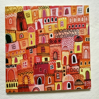 Patchwork Palaces, blank greetings card
