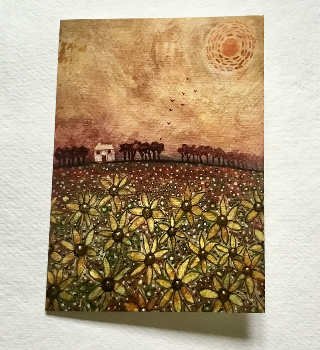 Hazy Summer Sunflowers, blank greetings card
