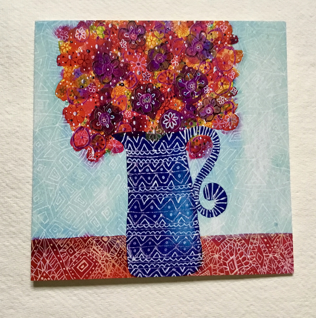 Vase of Happiness, blank greetings card