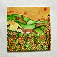 Autumn Fields, blank greetings card