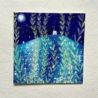 Full Moon Meadows, blank greetings card