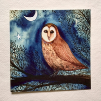Barn Owl, blank greetings card