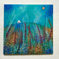 Foxglove Meadow, blank greetings card