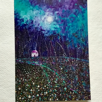 Moonlit Skies, blank greetings card