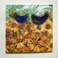 Blue Birds and Golden Sunflowers, blank greetings card