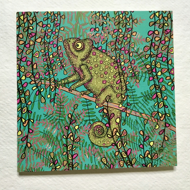 Chameleon, blank greetings card