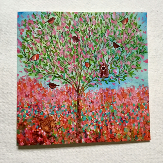 Cherry Blossom Tree, blank greetings card