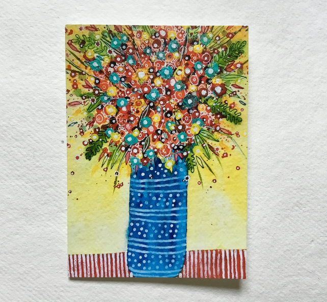 Blue Vase of Flowers, blank greetings card
