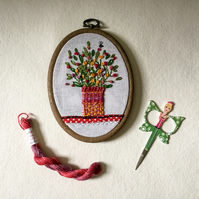 Flower Pot, embroidered hoop art