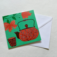 Hibiscus Tea, blank greetings card