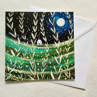 Full Moon and Shooting Stars, blank greetings card