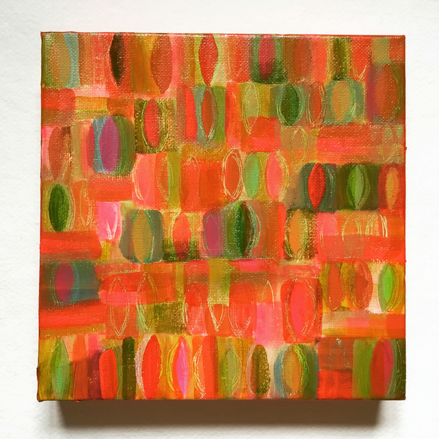 Spring Leaves, abstract canvas painting