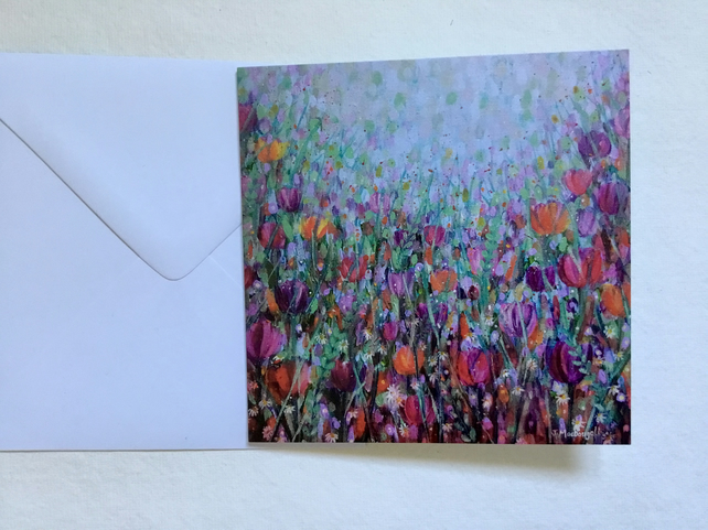 Tangle of Tulips, blank greetings card