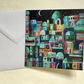 Patchwork City, blank greetings card