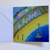 Beach Huts, blank greetings card