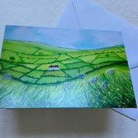 Rolling Hills, blank greetings card