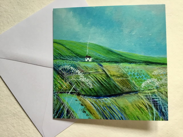Hilltop Cottage, blank greetings card