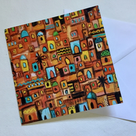 Moroccan Moon, blank greetings card