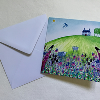 Sheep Meadows, blank greetings card