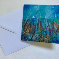 Foxglove Meadows, blank greetings card