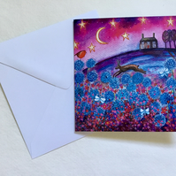 Running Hare, blank greetings card