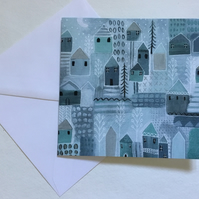 Scandi Winter, blank greeting card
