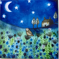 Midnight Moon, blank greetings card