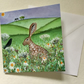 Floral Hare, blank greetings card