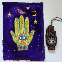 Hamsa Hand, original watercolour painting