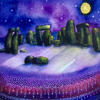 Stonehenge, blank greetings card